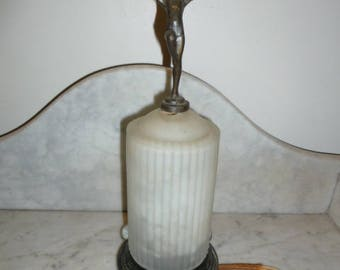 Art Deco period spelter figural nude lady dancer Skyscraper frosted glass table lamp circa 1920s