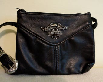 Harley Davidson Small Crossbody Leather Handbag, Officially Licensed, Metal Emblem, Made in USA, Refurbished