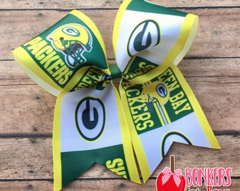 Green Bay Packers Bow, Green Bay Packers Cheer Bow, Green Bay Packers hair bow, Football Cheer Bow, Football hair bow, football bow, NFL Bow