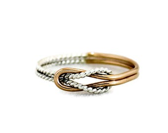 Love knot ring, gold ring, gold and silver ring, promise ring, bridesmaid gift,