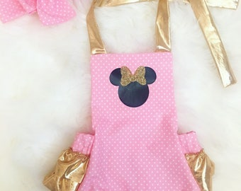 Light Pink and Gold Minnie Romper