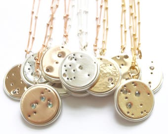 Zodiac Jewelry, Constelation Jewelry Collection by Bare and Me on Etsy, Constellation Keepsake Necklaces, Bride and Groom Constellation Gift
