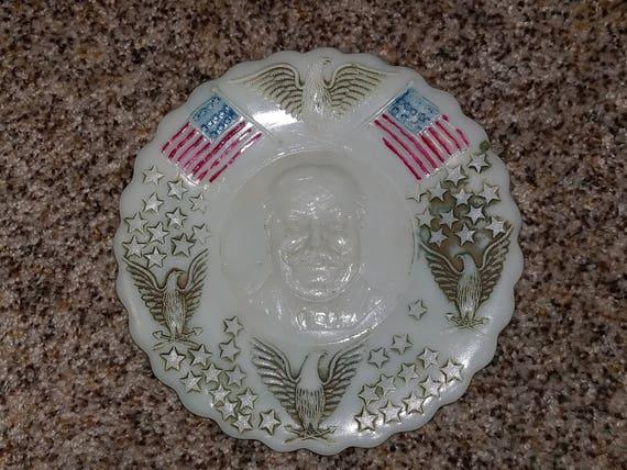 1908 President William Taft Campaign Milk Glass Plate