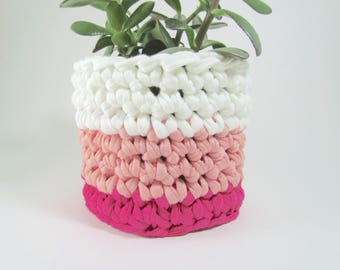 Pink and White Stripy Neapolitan Style Planter for Medium Plant Pot, Medium Succulent Planters, Striped Recycled Tshirt Yarn Basket Pot