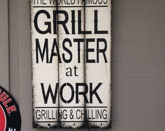 Grill Master at Work pallet wood sign
