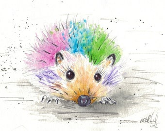 Hedgehog Print, Animal Art, Ink and watercolour print, Picklepants Print A4 and A5 mounted and signed