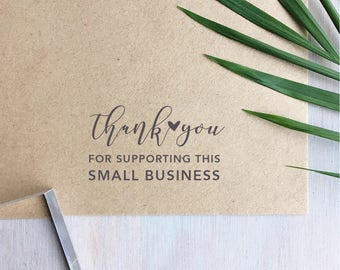 Thank You For Supporting Small Business Stamp | Thank You Stamp - Packaging Stamp - Custom Stamp