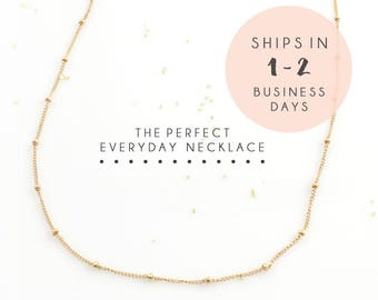 Everyday Necklace, Simple Necklace, Satellite Bead, Dainty Chain Necklace, Layered Necklace, Gold Necklace
