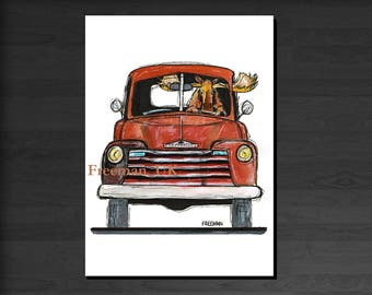 Classic Chevy and Moose!  Greetings card