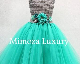 SALE Teal green & Silver Flower girl dress, teal green tutu dress, bridesmaid dress, princess dress, silver crochet top teal green tulle dre