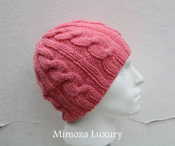 Peach Men's Beanie hat, Hand Knitted Hat in peach beanie hat, knitted cap, knitted men's, women's beanie hat, winter beanie, peach ski hat