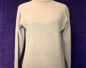 Vintage Camel Hair Ribbed Turtleneck Sweater