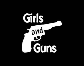 Girls and Guns Decal,Funny Gun Decals Stickers Gun Window Decal 2nd Amendment Vinyl Decal Car,Truck,Gun Lover Decal,Girls And Guns Car Decal