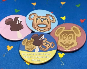 Mickey Food Pinback Buttons