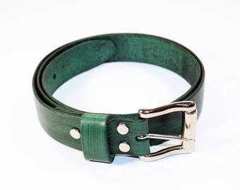 Green Leather Belt ,Leather Belt , Handmade Belt,Great Gift. Green belt.