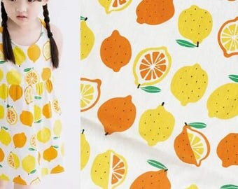 "ON SALE, White cotton fabric with yellow and orange lemon, printed cotton fabric, baby girl clothes fabric, by the 1m-SQG-57""Wide"
