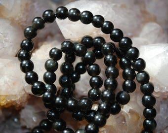 5 round 4mm black Obsidian beads