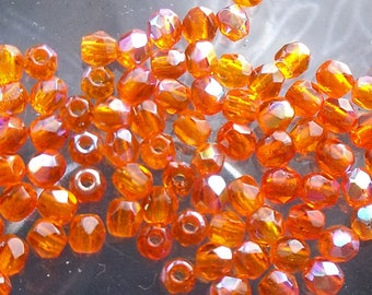 lot 25 faceted beads 3mm orange ab