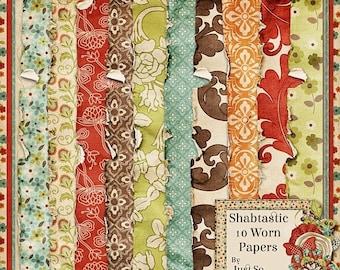 On Sale 50% Shabtastic Digital Scrapbook Kit Worn Papers Pack - Digital Scrapbooking
