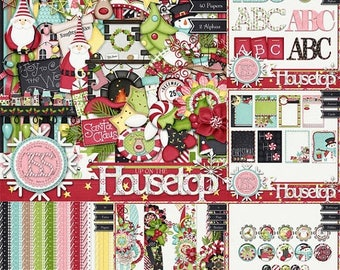 On Sale 50% Christmas,Holiday,Santa,Up On The Housetop Kit Collection, Digital Scrapbooking, Scrapbook, Instant Download