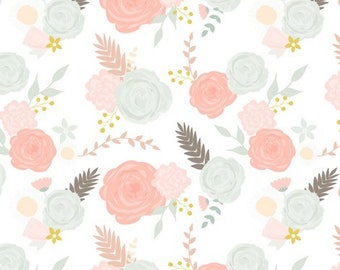 READY TO SHIP - Deluxe Changing Pad Cover - Summer Blooms with Pink Minky