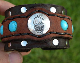 Bear claw Native Indian Navajo sterling silver bracelet ketoh Buffalo Bison leather handcrafted adjustable one of kind tribal turquoise