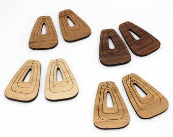 6 Concentric Rectangular Oval Wood Beads : Cherry, Maple, Walnut or Bamboo