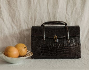 Vintage Mark Cross Alligator Satchel Handbag