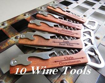 Groomsmen Bottle Opener - Custom Corkscrew - Engraved Wine Opener - Wedding Party Gifts - Custom Bottle Opener - Monogrammed Corkscrew