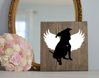 Pitbull Angel Wing Silhouette, Remembrance Sign, Dog Memorial, Loss of Dog, Dane Silhouette, Pet Loss, Dog Art, Pitbull