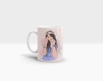 Gift Valentines New Rules 11oz Ceramic Mug Dua Lipa Music Pink Lilac Flowers Home Kitchen Crockery Cup