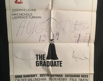 Original 1972 The Graduate One Sheet Movie Poster, Dustin Hoffman, Anne Bancroft, Oscar, Academy Award
