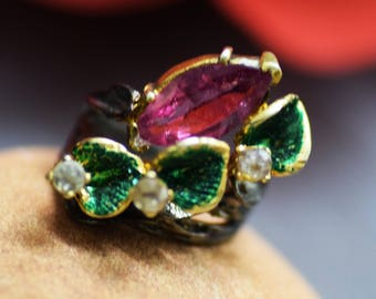 RING,92.5 silver victorian style rosecut diamond & ruby turkish jewellery ring