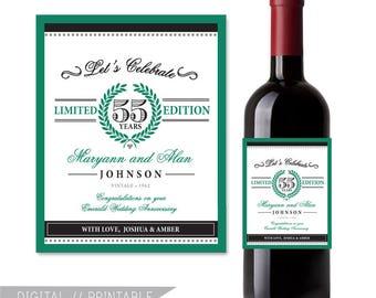55th Anniversary printable wine label, Emerald Wedding Anniversary, Wedding Anniversary Gift   Digital File