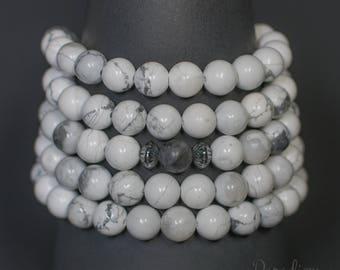 Patience - White Howlite & Labradorite 108 Bead Stretch Wrist Yoga Mala Bracelet