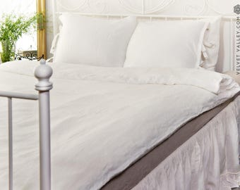 Linen optical white taupe duvet cover and pillow sham - Softened linen bed set-Optical white taupe beige queen/king size linen bed set