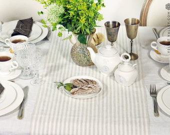Linen striped Easter table runner- natural linen table runner-light white beige table runner- handmade linen table runner