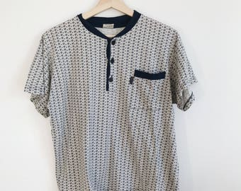80s Patterned Portuguese Hospital T-shirt in Navy