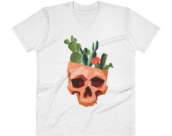 V-Neck Men's Cactus Skull T-Shirt