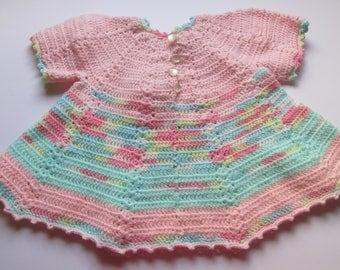 Handmade Vintage Crocheted Dress Baby Dress Pastels