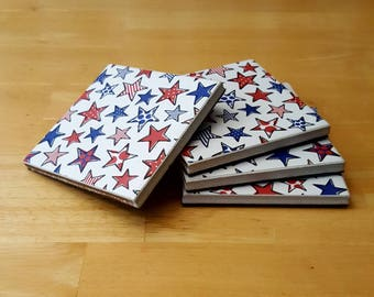 Ceramic, Tile, Coasters, Stars, Red, White, Blue, Independence, Day, 4th, Of, July, Sky, 4x4