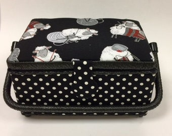 Black Sheep Sewing and Craft Basket - Sewing, Knitting Basket Box