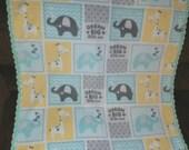 Gender neutral baby blanket.    Dream Big Little One Fleece Baby Blanket, Aqua, Grey and Yellow Baby Blanket, Crocheted Fleece Baby Blanket