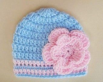 Crochet baby hat, newborn girl hat, baby girl hat, crochet newborn hat, baby girl beanie, blue baby hat, crochet baby outfit