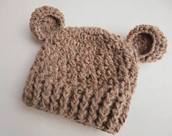 Baby bear hat Baby animal hat Newborn bear hat Baby boy hat Baby hat with ears Crochet bear hat Baby boy outfit Brown bear hat Bear beanie