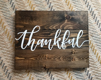 Thankful Rustic Wood Sign - Fall Sign - Thanksgiving Sign - Dark Walnut Stain -  Farmhouse Sign - Fall Sign