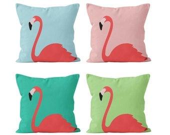 Flamingo Pillow Cover in Coral Pink Aqua Blue Turquoise Pistachio Green, Tropical Beach Decor, Flamingo Nursery Kid Teen Bedroom Decor