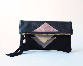 Clutch in Pink - Metallic Geo Suede + Leather
