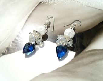 SAPPHIRE blue ice EARRINGS sapphire blue quartz Briolettes rock crystal Moonstone earrings leaves drop facetteirt
