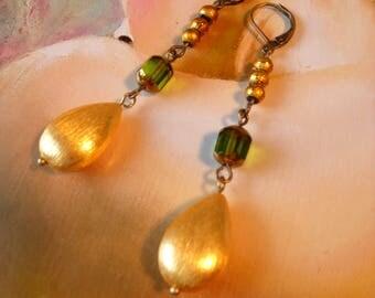 Little Green garden Earrings gold glass beads women Summer Theater Dance